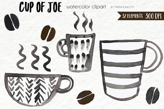 Watercolor Clip Art Coffee Cup Of Joe Mug Cup Steam Coffee
