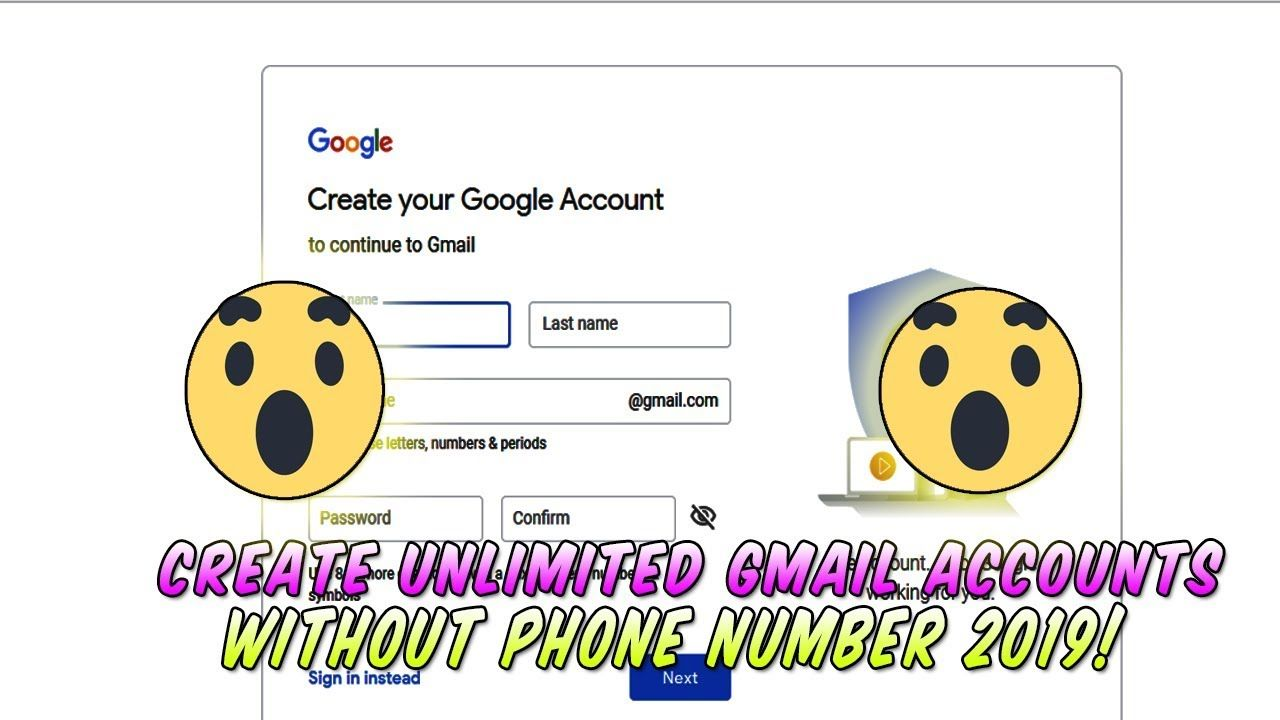 How To Create A Gmail ACCOUNT WITHOUT PHONE NUMBER 2019