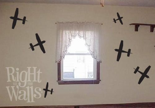 Airplane 10pc Vinyl Wall Art Decals Silhouette by RightOnTheWalls, $15.00