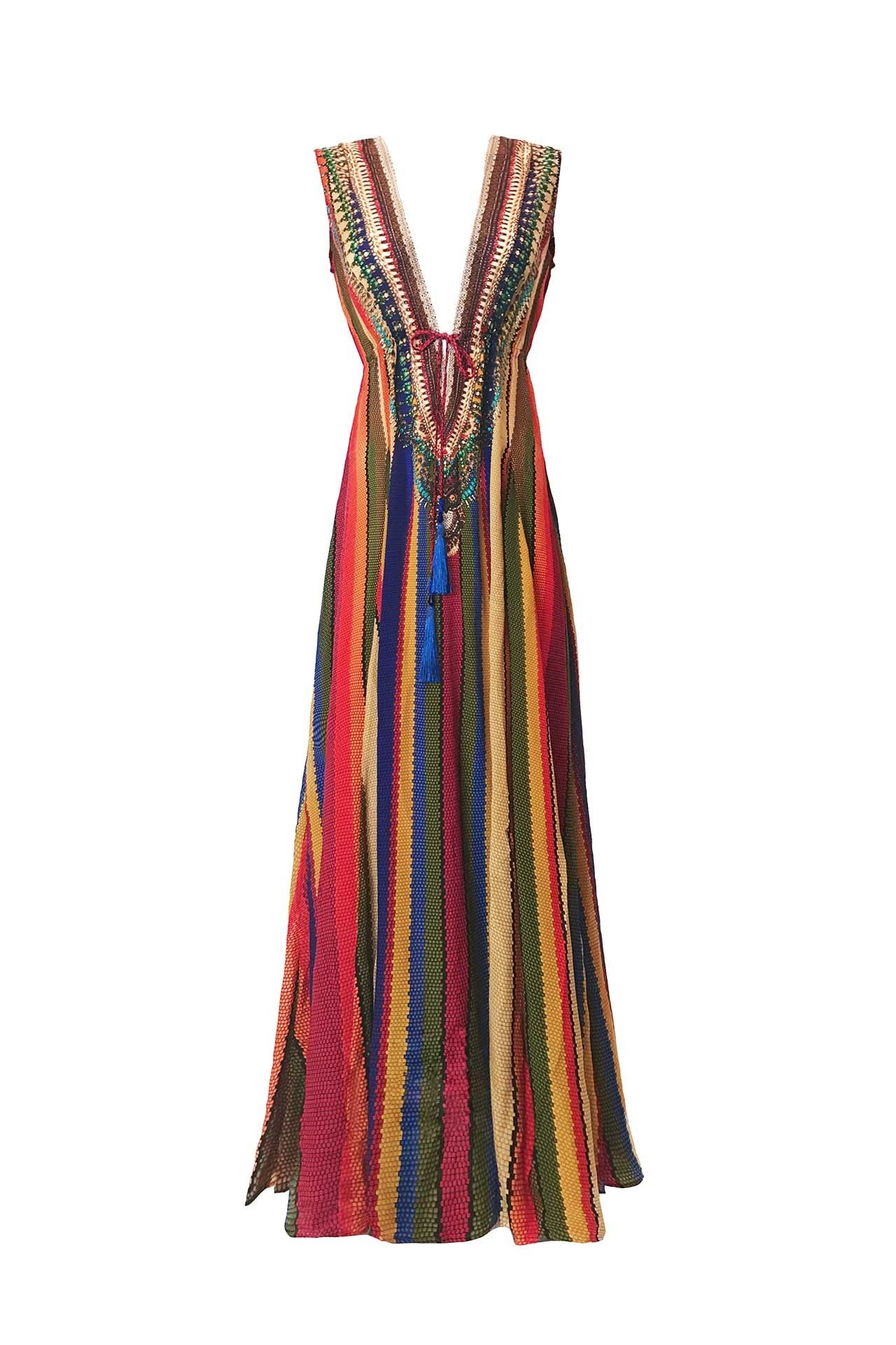 717f2a1f53 Multi-Color Rainbow Striped Maxi Dress as seen on Paris Hilton in ...