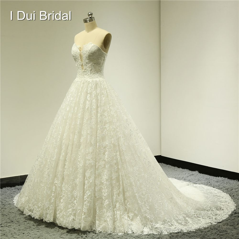 Lace wedding dress with train  Click to Buy ucuc Sweetheart Ball Gown Lace Wedding Dresses Chapel