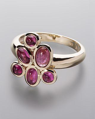 Turmalin-Goldring von Sogni d´oro - 2x oval, Cabochon je ca. 5 x 3 mm 1x oval, Cabochon ca. 6 x 4 mm 3x rund, Cabochon je ca. 3 mm im Durchmesser #sognidoro #sogni #doro #schmuck #edelstein #ring #jewelry #gemstone