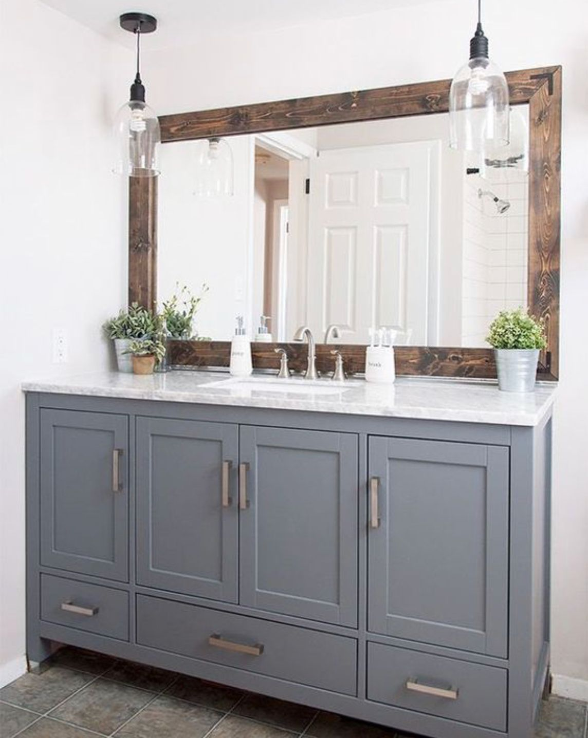 Barnwood frame around current mirror gray vanity client ideas in