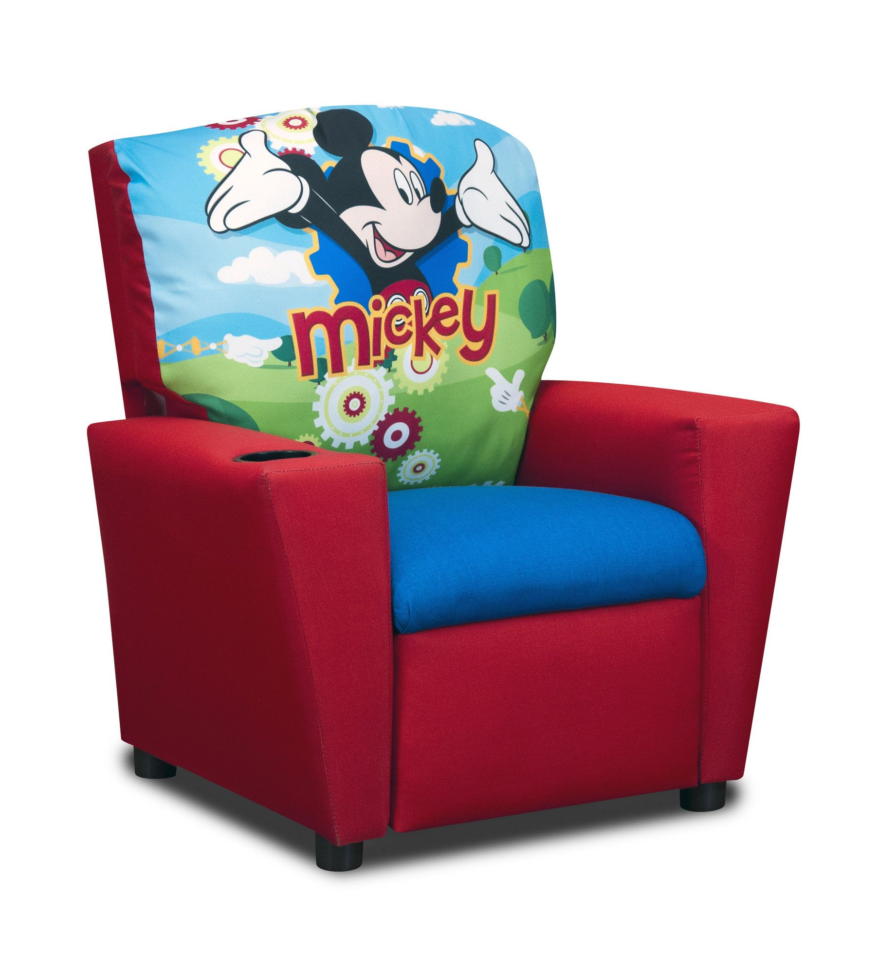 Disneyus mickey mouse clubhouse kids cotton recliner chair with cup