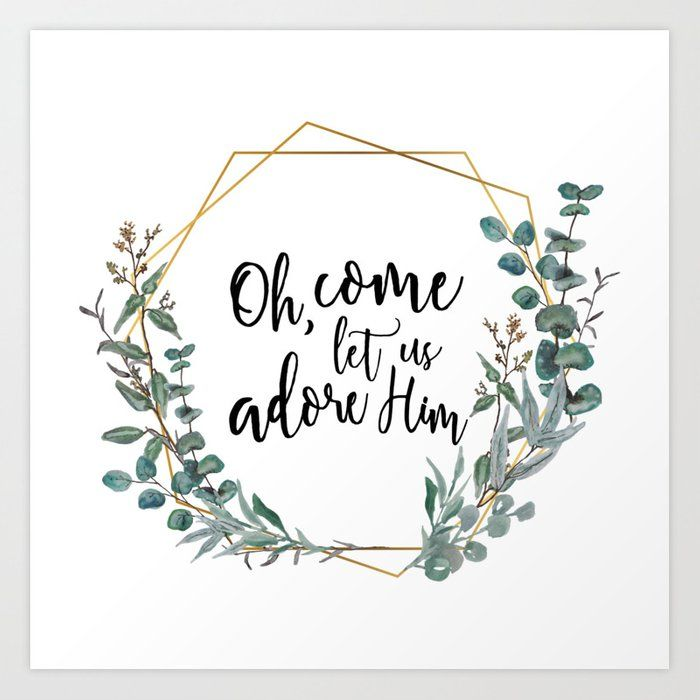 Photo of Let's Adore Him Eucalyptus Wreath Art Print by The Kindred Pines – X-Small