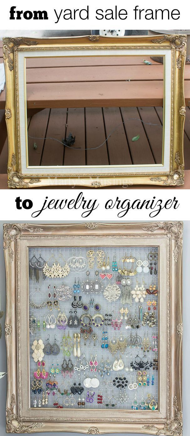 DIY Framed Jewelry and Earring Organizer Hang necklaces Chicken
