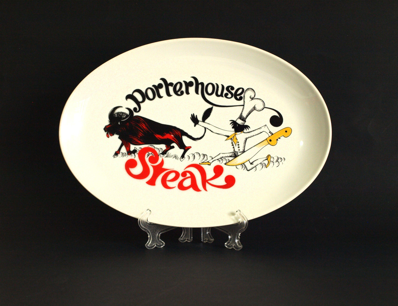 Westminster Porterhouse Steak Serving Plate Vintage Retro Chef Bull Funny Platter Tray Dish 1220 Made In Australia Porterhouse Steak Porterhouse Serving Plates