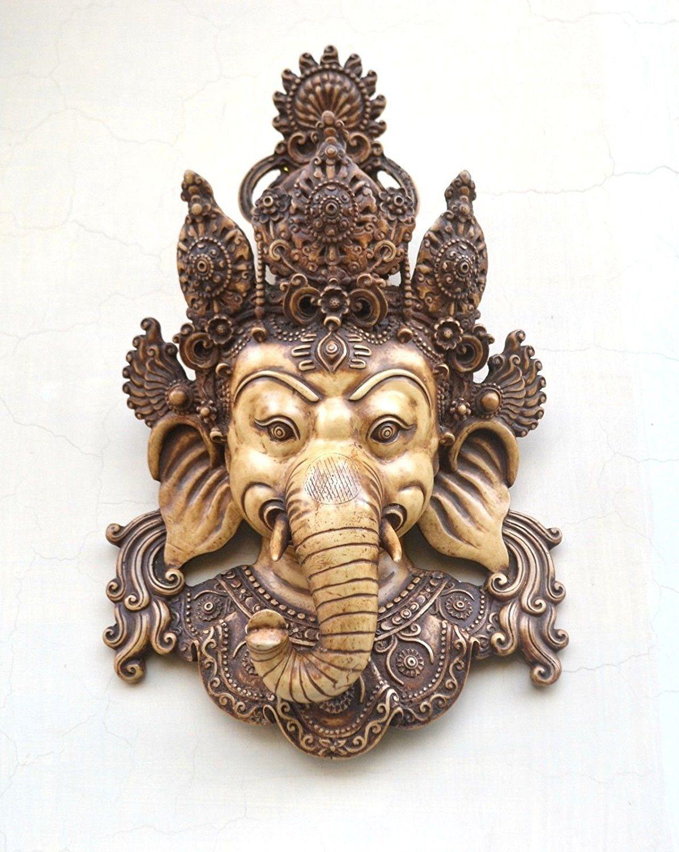 Craftvatika Wall Hanging Mask Decor Indian Wall Art Wall Sculpture Mask Ganesh Wall Hanging Hindu Lord Gane Wall Sculpture Art Wall Sculptures Indian Wall Art