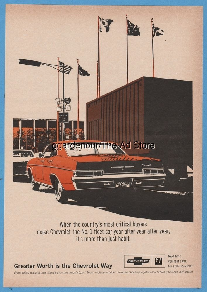 1966 Chevrolet Fleet Car sales 1960s Chevy Magazine Print Ad ...