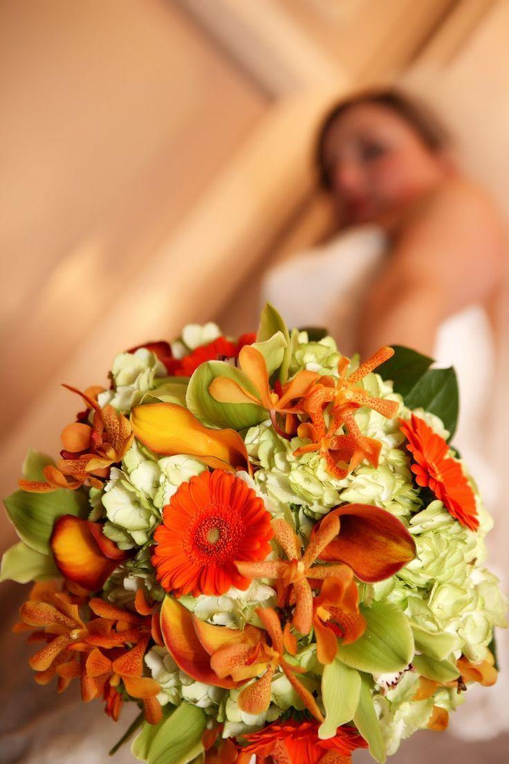 Stunning Fall Orange And White Wedding Bouquet A Bouquet Affair