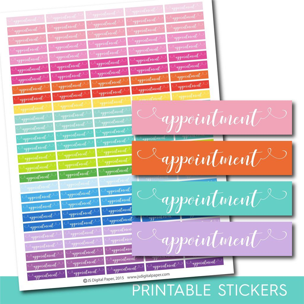 Appointment Planner Stickers Appointment Word Stickers Hand