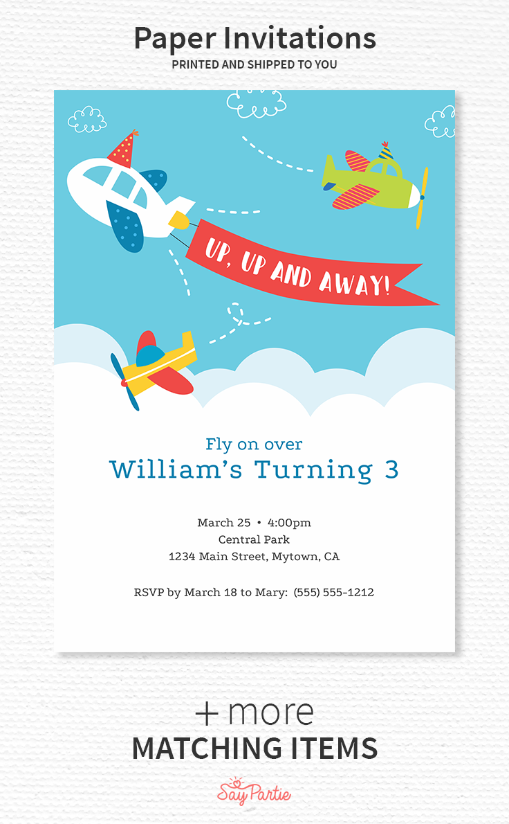 Airplane Birthday Invitations Measure 5 X 7 Inches And Include Free Envelopes Get The Complete Look For Your Party With Our Full Set