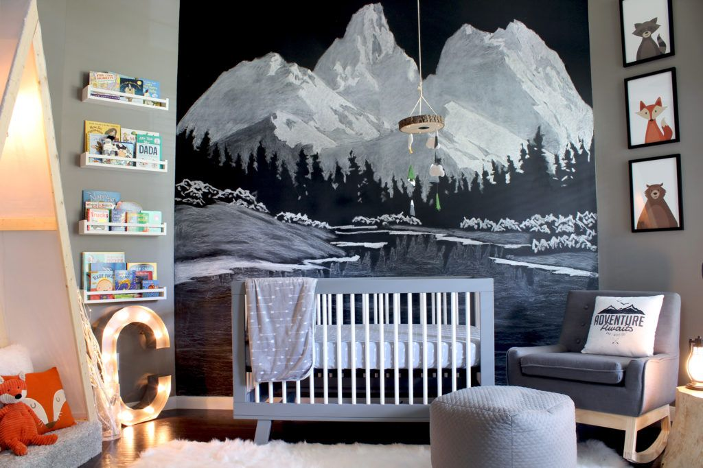 Mountain Mural In Outdoor Themed Adventure Boy S Nursery Nursery Room Boy Outdoor Nursery Baby Boy Room Nursery
