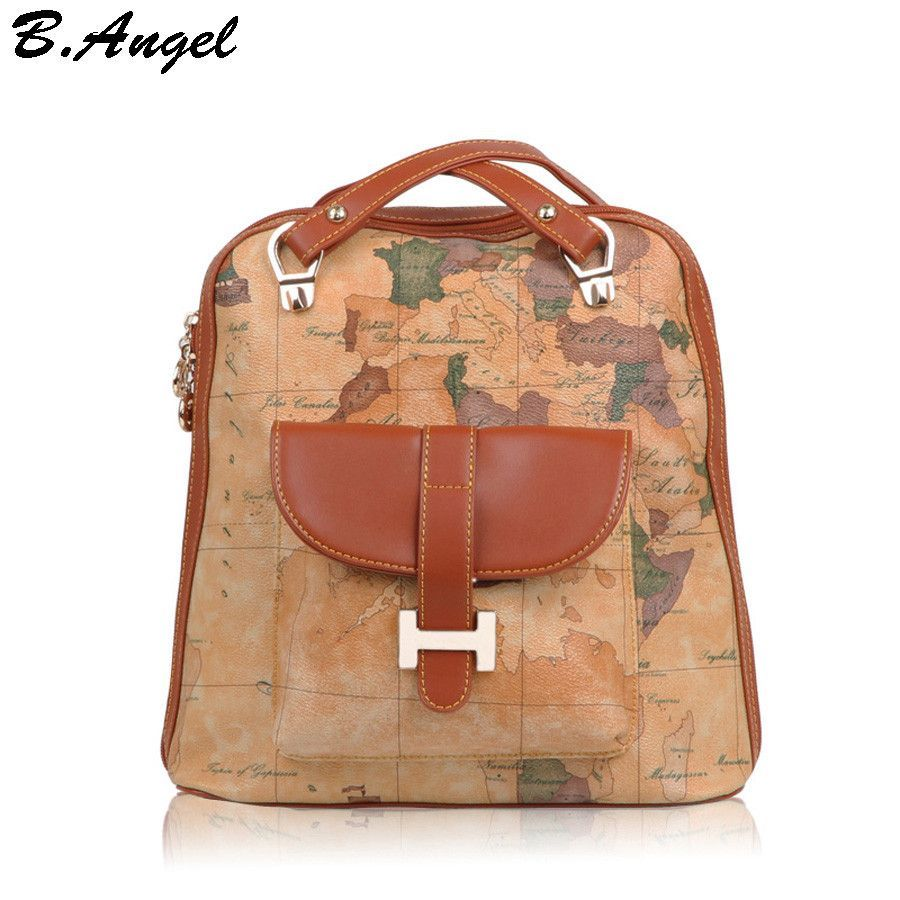 New fashion vintage high quality world map backpack women bag new fashion vintage high quality world map backpack women bag backpack women shoulder bag leather backpack publicscrutiny Images