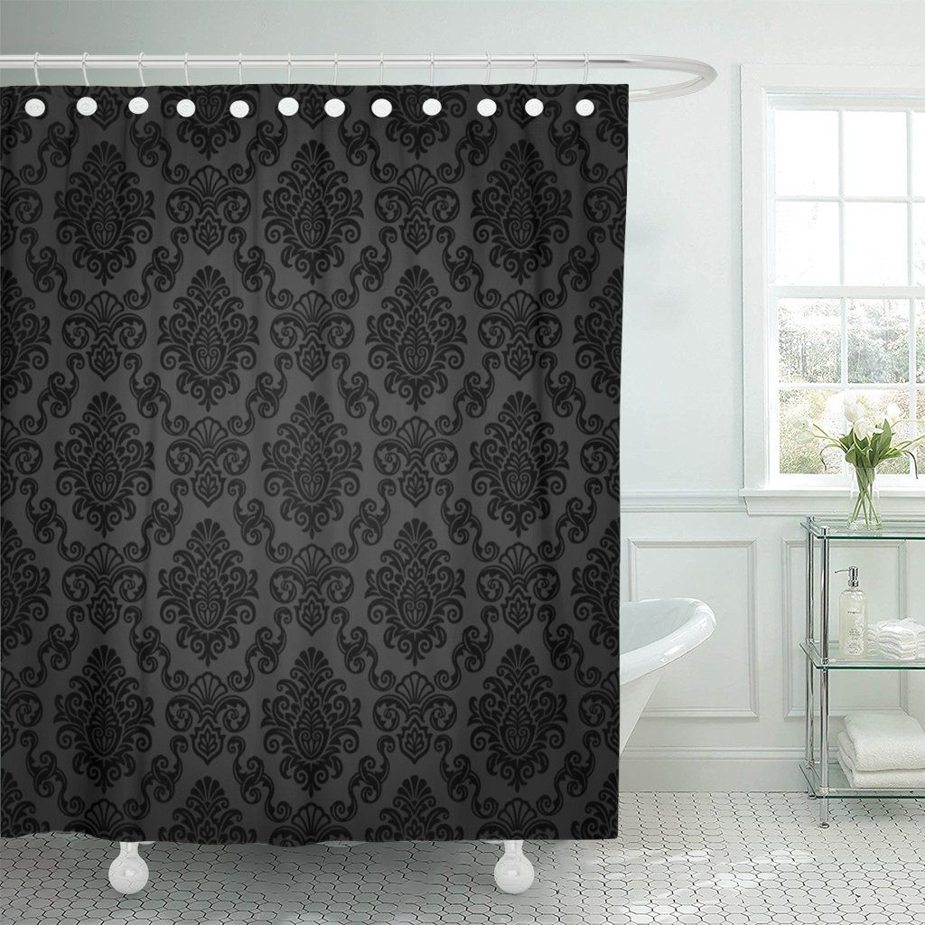 Photo of PKNMT Victorian Damask Pattern Royal Black Gothic Dark Vintage Polyester Shower Curtain 60×72 inches