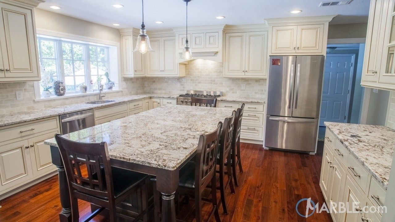 Bianco Antico Kitchen Granite Countertop And Table Granite Kitchen Table Kitchen Remodel Countertops Granite Kitchen Island