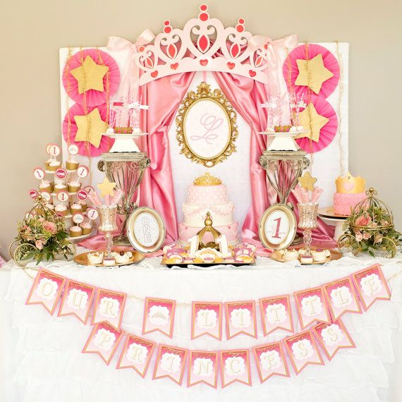Little Princess Party Decor Birthday Initial Backdrop Print By Charming Touch Parties Pink And Gold Physical Product