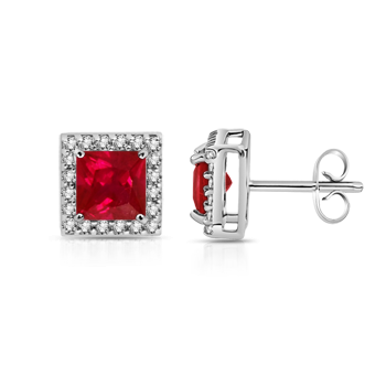 Angara Oval Natural Ruby Diamond Floral Halo Stud Earrings in 14k White Gold mWxZsf