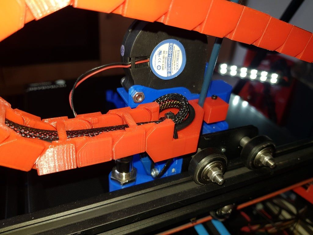 Cr 10 X Axis Cable Chain Mount For Petsfang Duct By Xfirdan Thingiverse 3d Printer Accessories Duct 3d Printer