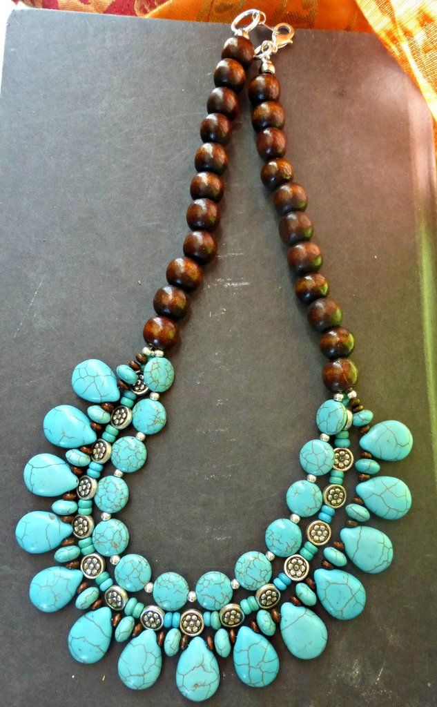 metal wood necklace beaded jewelry handmade silver turquoise beads and pin stone bohemian