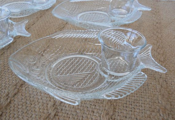 Vintage Clear Glass Fish Shaped Snack Plates Set Of Four Fish Shapes Antique Dishes Glass Fish