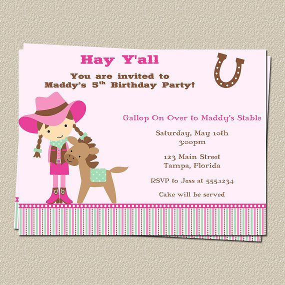 Birthday Invitations Girls Gingham Boots Pink Aqua Country – Cowgirl Party Invites