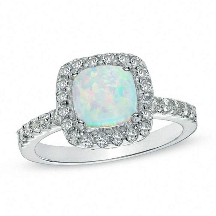 Zales Oval Opal and Lab-Created White Sapphire Ring in Sterling Silver - Size 7 hda3dCM