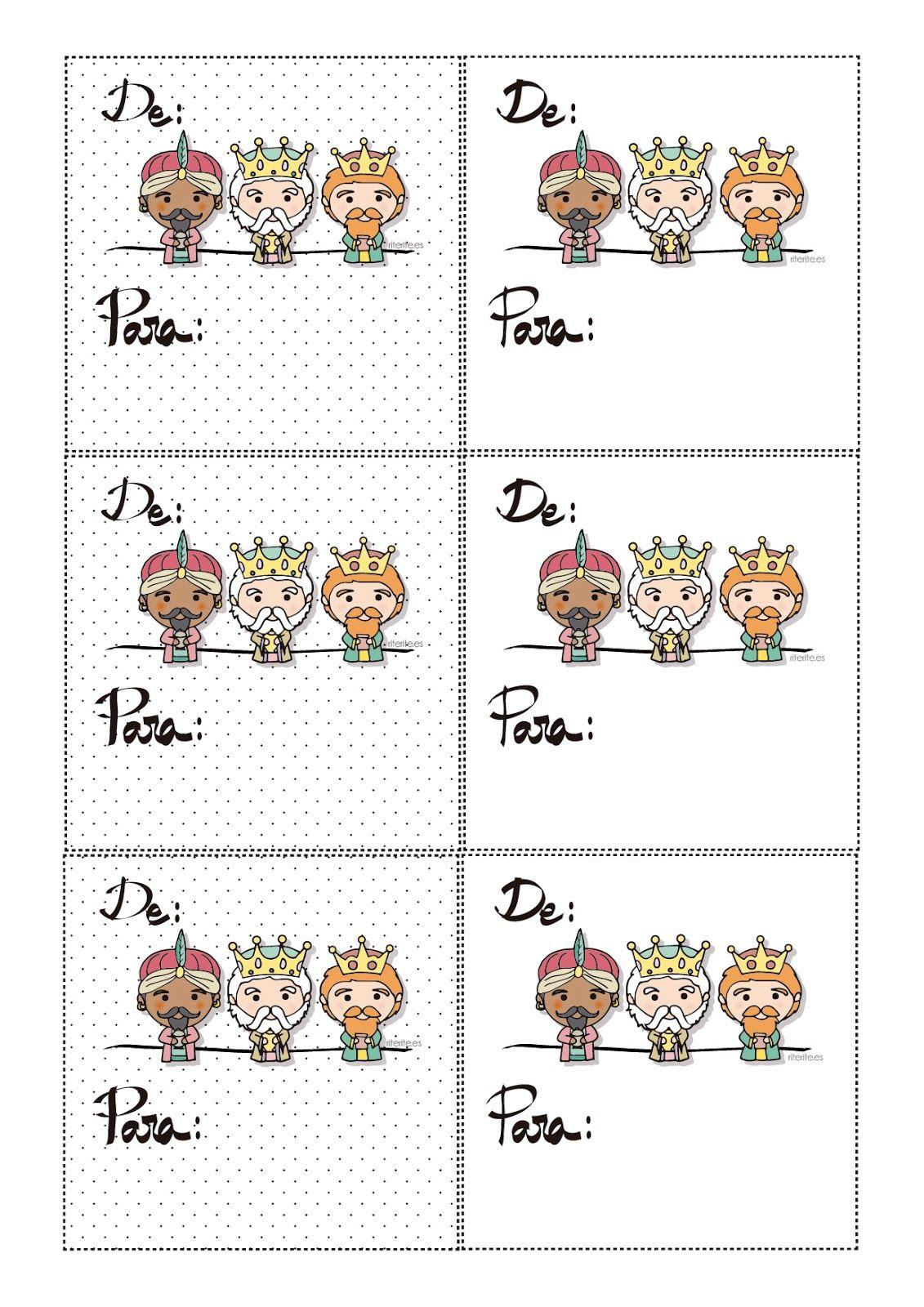 Tarjetas imprimibles gratis para tus regalos de Reyes Magos en ...