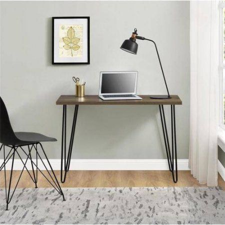 Retro Writing Task Desk Student Metal Legs Computer Console Table Rectangle Shape Work Great For Small Es Dorm Home Office