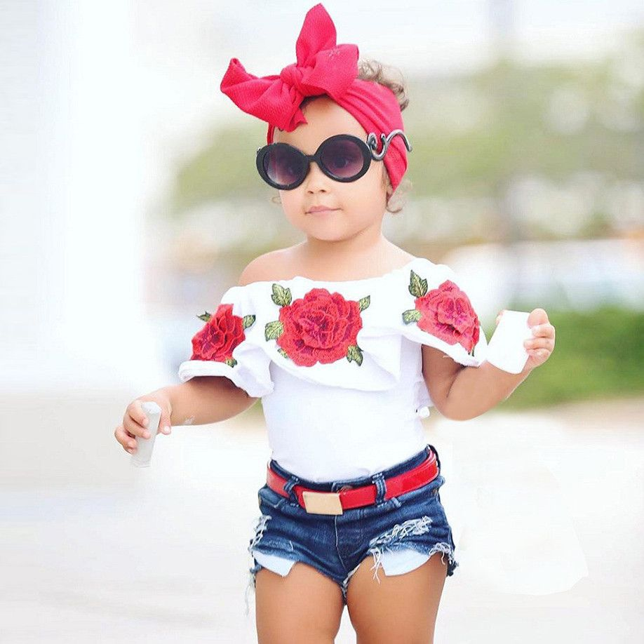 f8c8a5aabb742 Girl Fashion · Cotton Shorts · Let her show off her Sassy side in this cute  off-shoulder shirt. https