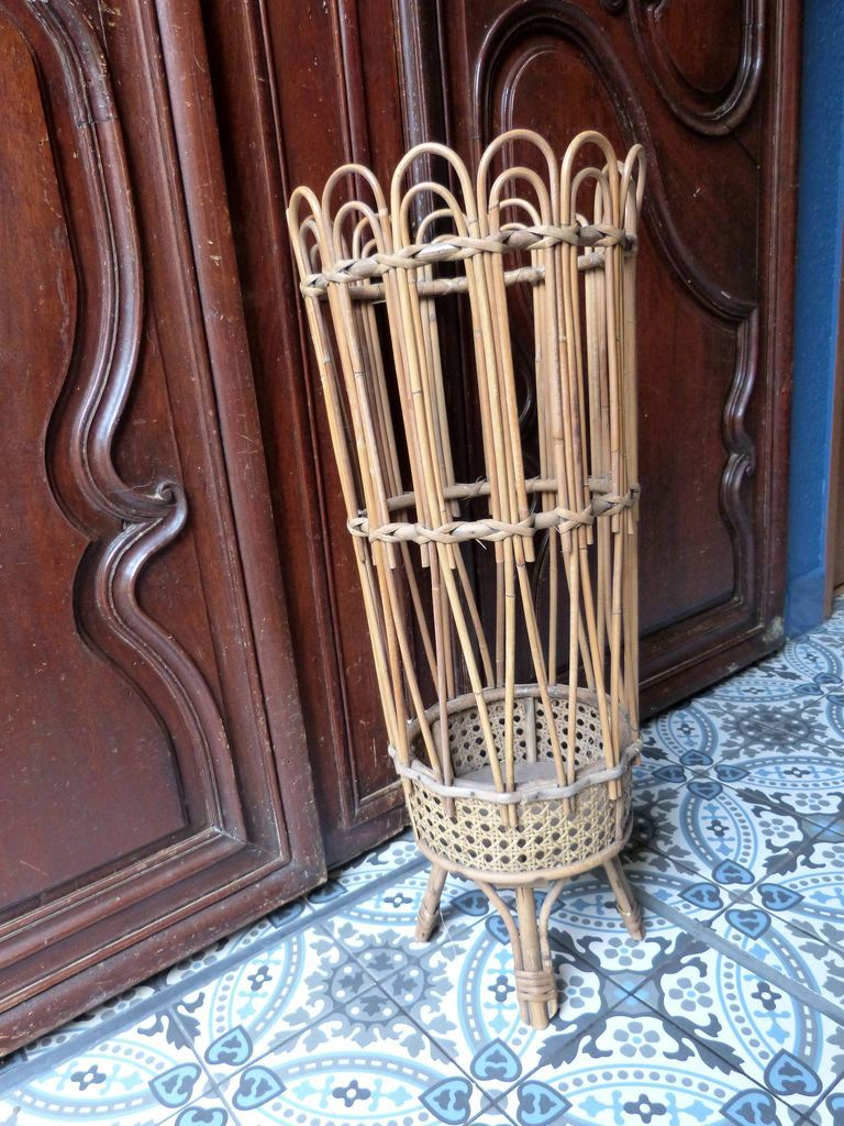 Vintage French Bamboo Umbrella Stand Tall Sixties Wicker Rattan Cane Stand Entryway Hall Furniture Boho Country Farmhouse Decor In 2020 Country Farmhouse Decor Hall Furniture French Vintage