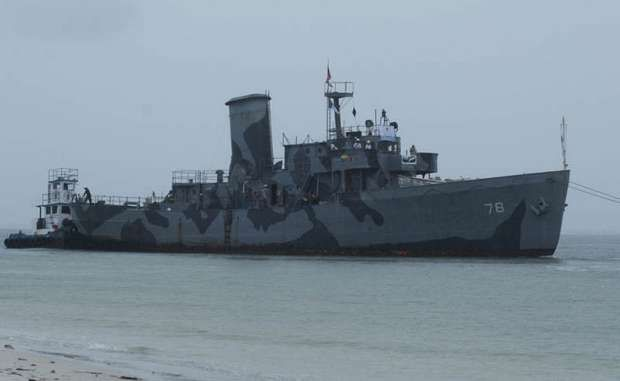 The Ex-USS Mohawk Is Towed Around Bowditch Point At Fort