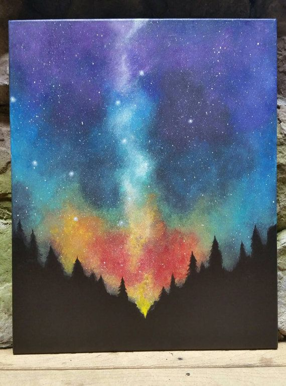 Night sky forest original acrylic painting by for Space art tutorial