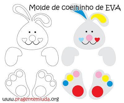 Bunnies e cioccolatini realizzati con EVA | Pra Gente Miuda