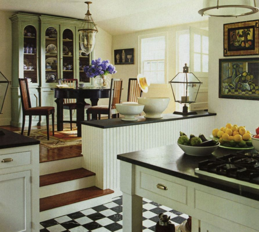 checked floor | Home kitchens, Dining room buffet, Split ...