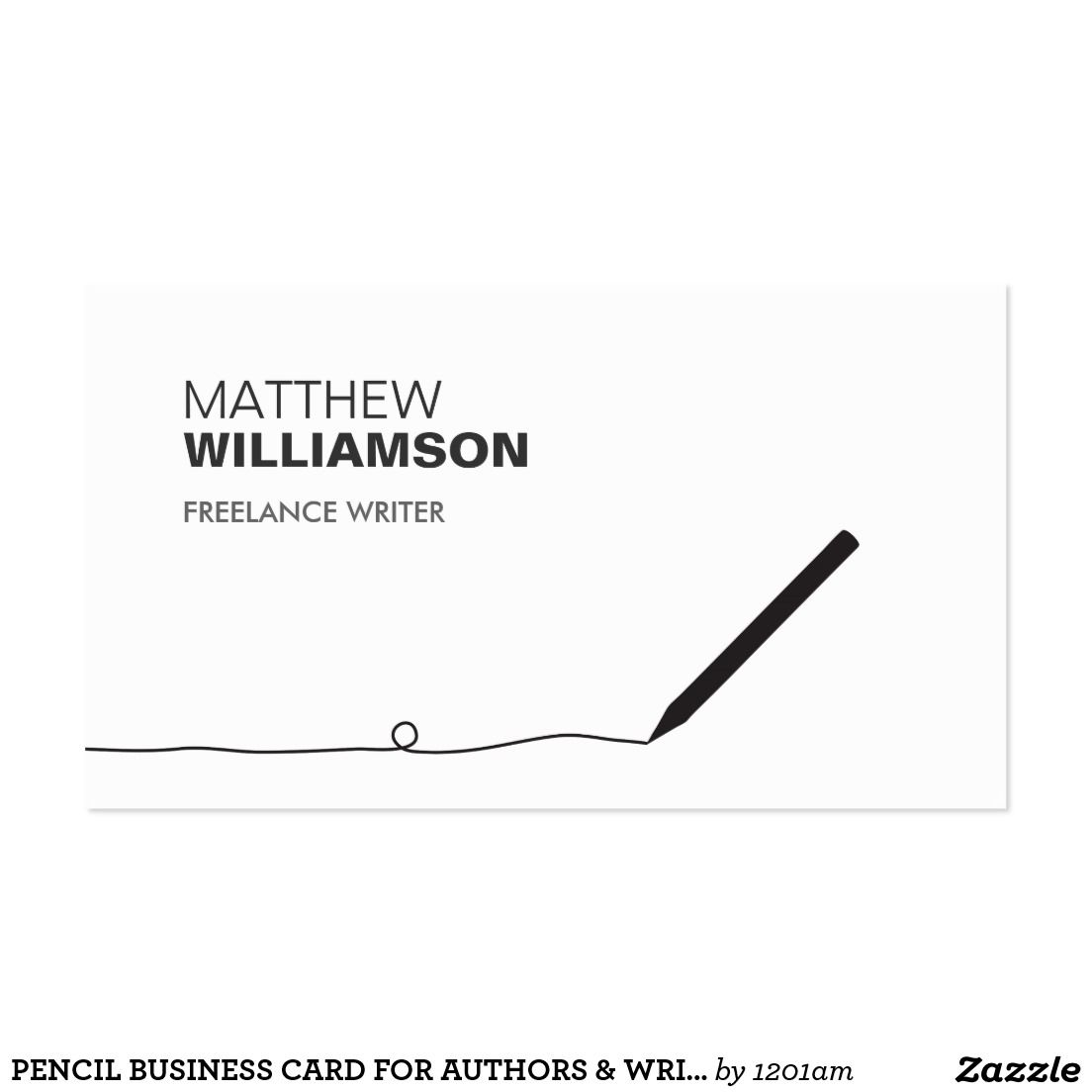 PENCIL BUSINESS CARD FOR AUTHORS & WRITERS | Business Cards ...