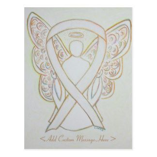White Awareness Ribbon Angel Custom Postcard