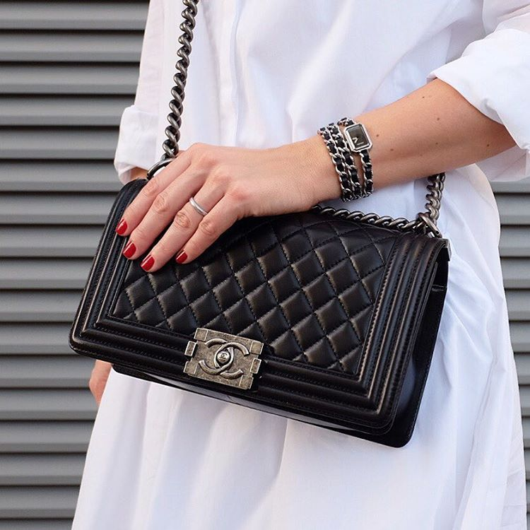 "6bbeb3f10924 ""Oh boy... chanel boy bag and premiere watch red nails dubai instagram  yasmin dxb"