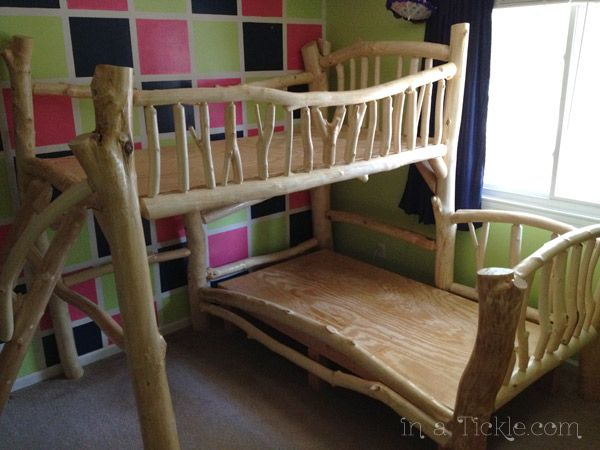 Tropical Tree House Bunk Bed Features Real Bamboo Thatching And