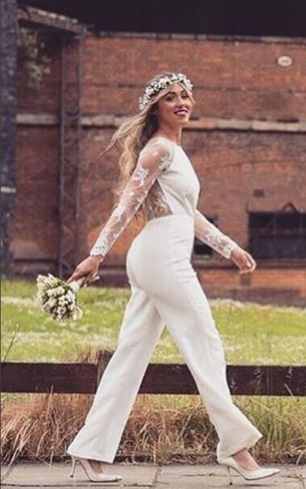 The Beautiful Linford Bridal Jumpsuit Is Perfect For Tomboy Brides It Has Elegant Sheer Sl Tomboy Wedding Dress Beaded Wedding Gowns Shower Dress For Bride