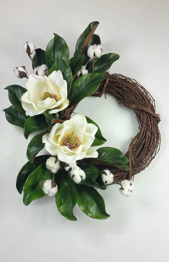 Magnolia Flower wreath, Farmhouse wreath, Fixer Upper wreath, Double door wreath, Farmhouse decor, Cotton wreath, Mothers Day gift #doubledoorwreaths