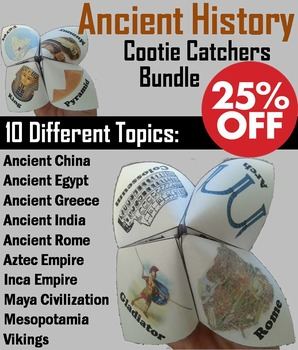 This is a bundle of all my Ancient History Cootie Catchers/ Fortune Tellers.  Playing directions and folding Directions (with pictures) are Included.Important: All these Cootie Catchers sell for $26; as a bundle they are 25% off, for $19.50!There are 10 different topics, each one having multiple versions in color and black and white:       China       Egypt       Greece       India       Rome       Incas       Aztecs       Maya's       Mesopotamia      ...