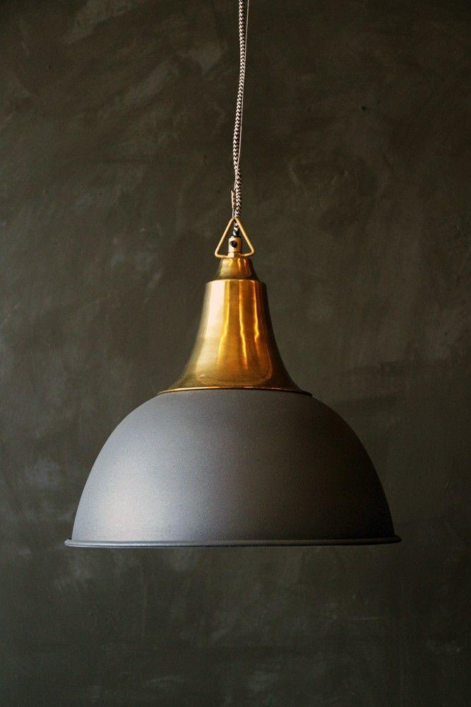 Delightful Antique Brass Ceiling Light With Matt Grey Shade From Rockett St George