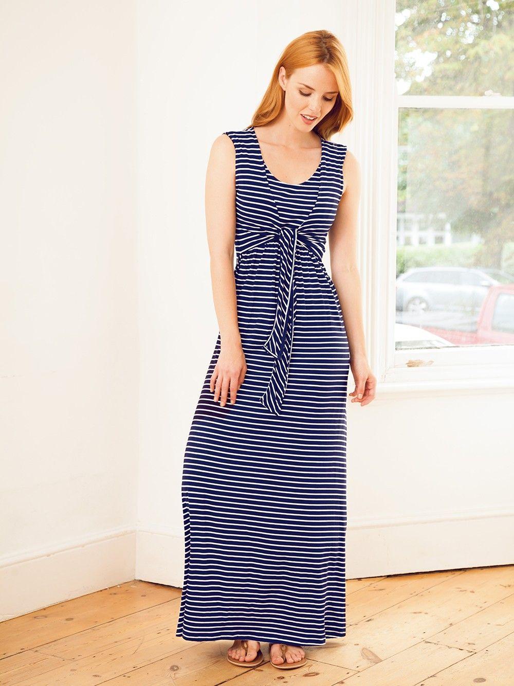 376d56e2b6 Navy Breton Maternity   Nursing Maxi Dress