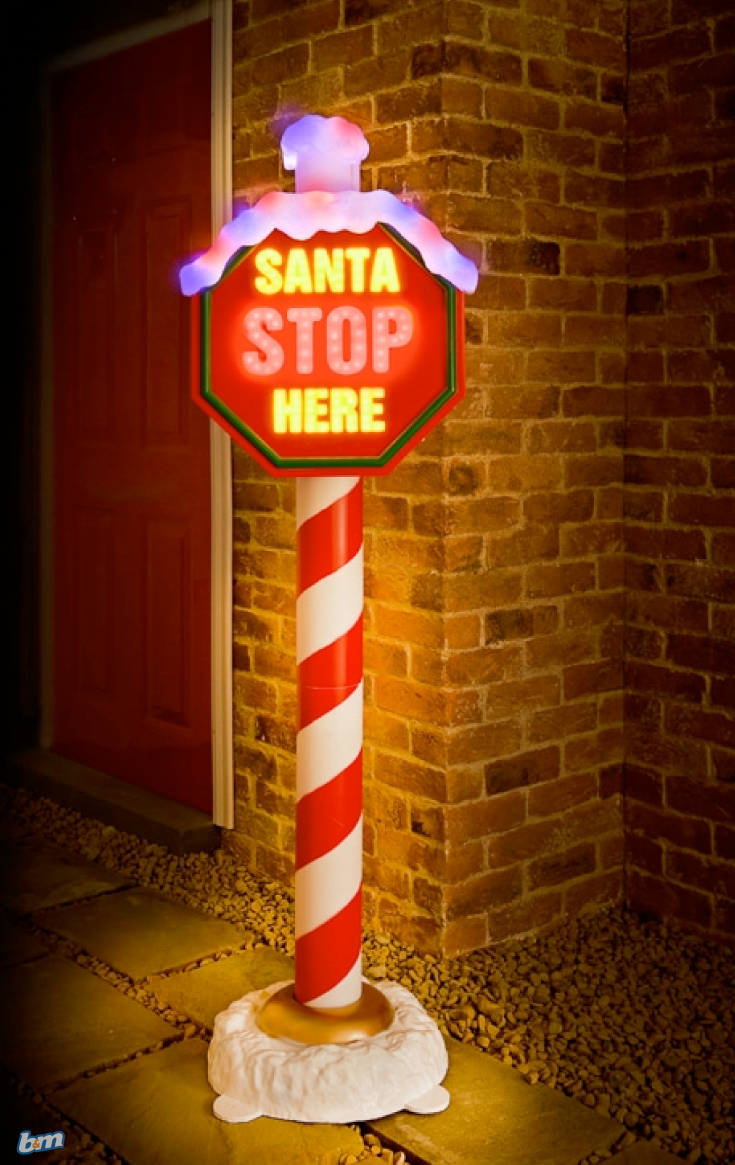 Giant Santa Stop Here Illuminated Sign. Decorate your