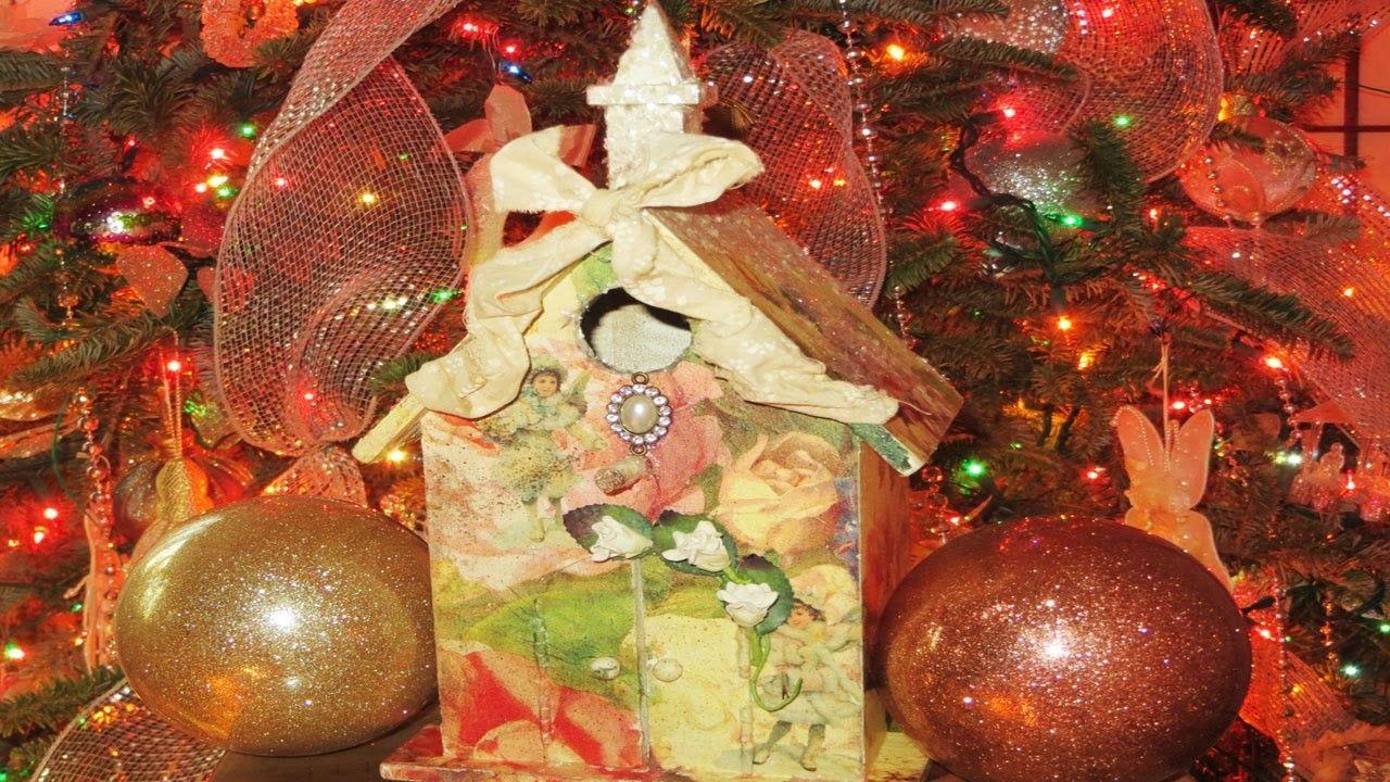 DIY Victorian Christmas Birdhouse Decoupage