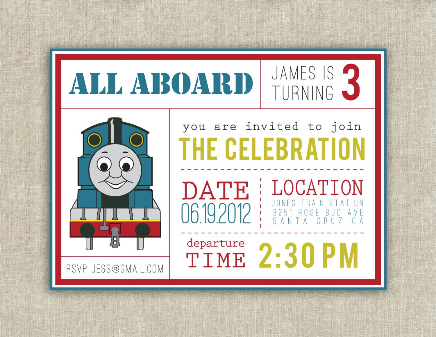 Thomas the Train party invitation printable by paperkitedesigns ...