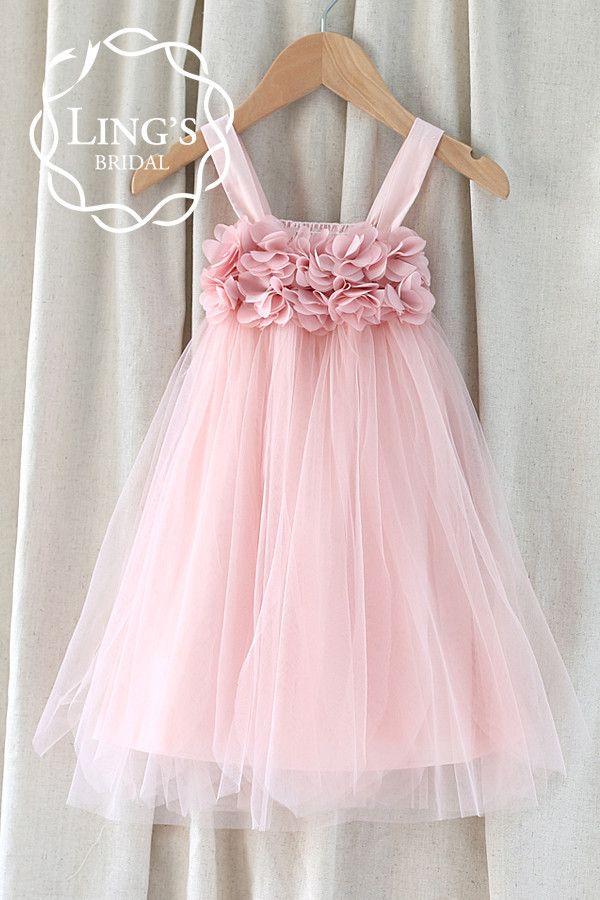 Pastel Dusty Pink Tutu Flower Girl Dress – Ling\'s Bridal | tul ...