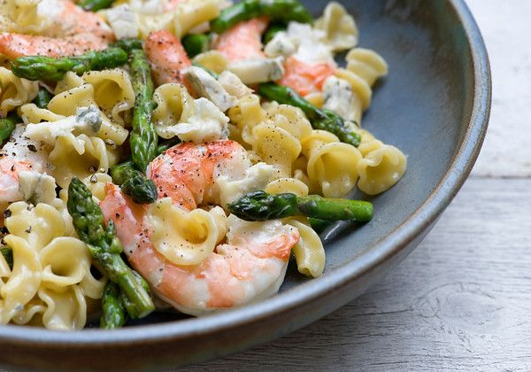 Warm Shrimp and Blue Cheese Pasta Salad...yum.