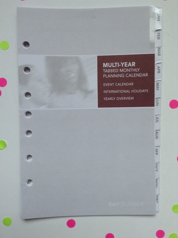 Undated Monthly Laminated Tab Dividers Calendar 5 5 x 8 5\ - multi year planner